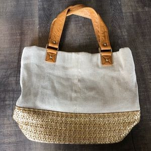 Like New Deux Lux gold and canvas tote